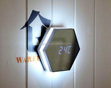 Multi-function make up mirror with led motion sensor light switch digital wall alarm clock