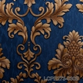 high quality classic blue gold wallpaper damask for 2018
