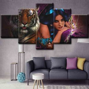 Wholesale Cheap Photo Sexy girls and animals Canvas Oil Painting Art Pictures