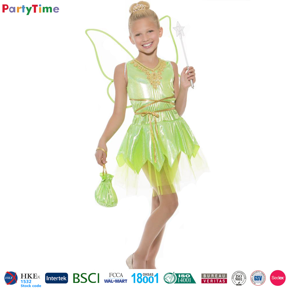 wholesale children halloween costumes kids green elf fairy dresses party costume