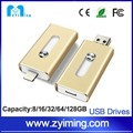 Zyiming 3in1 otg usb flash drive for iphone SE 7 plus IOS mobile phone Android and PC custom usb flash drive 64GB