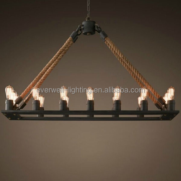 industry vintage rope pendant light candle hemp chandelier light