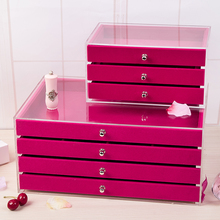 Top supplier Acrylic Necklace&Jewelry Display Stand box with rose red velvet drawer