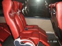 Reclining sleeping seats for bus with footrest