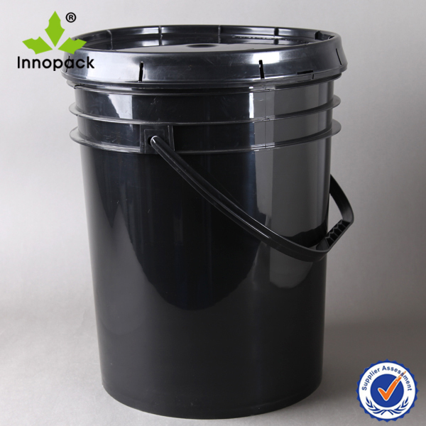 20L industry black plastic pail/bucket with lid and handle for paint