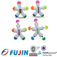 5 in 1 starfish shaped highlighter 5 happy multi colors highlighter promotional gifts