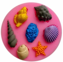 3D Vivid Seashell Conch Shape Silicone Cake Mold Fondant Candy Tools