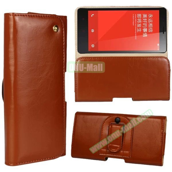 Crazy Horse Texture Waist Belt Leather Cover Case for Xiaomi Redmi Note 2