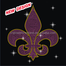 Wholesale pink fleur de lis rhinestone iron on transfers FY45 (22)
