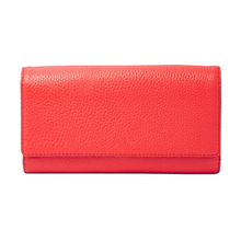 Hot Sale Fashional Design Genuine Leather Flap Clutch Trifold Wallet for Women / Real Leather Coin Purse Clutch Wallet
