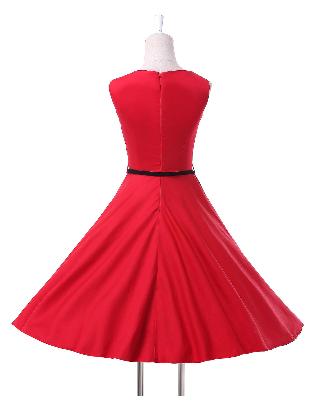 Hot sale Grace Karin Red sleeveless women short cheap Vintage 1950s deress CL6086-12#