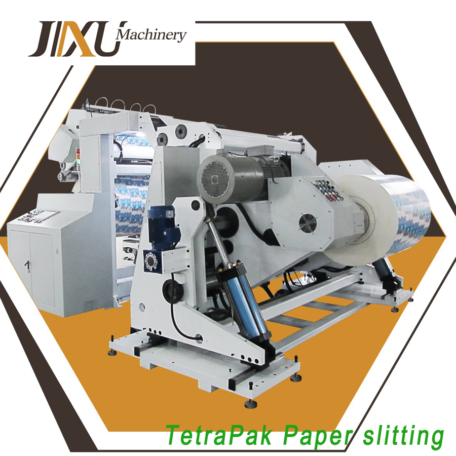 Automatic slitting and rewinding machine for paper to make milk package
