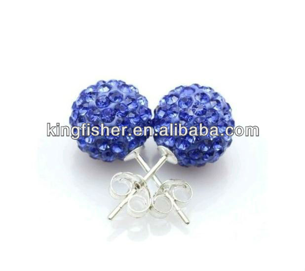 Hottest sales shamballa crystal earring stud!! Crystal rhinestone beads studs shamballa earrings wholesales!! Blue colors!! !!