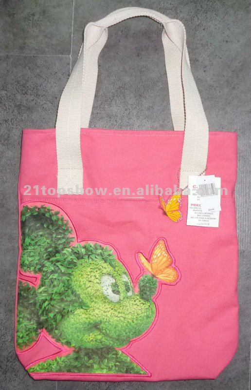 Cotton canvas sublimation print applique tote bag