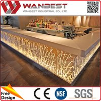 LED wooden and stone restaurant Bar Counter Classic design for sale.