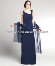 Navy Stretch Jersey Beaded Neck Gown With Shawl,designer clothing manufacturer in China