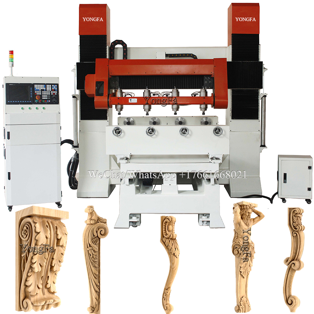 4 heads tilting spindle multi rotary 5 axis 3d wooden art sculpture <strong>cnc</strong> <strong>router</strong>