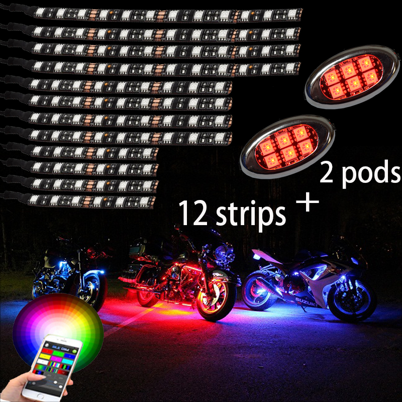 12 strip +2 pods Wireless Multi-Color Flexible super bright 112 LED Motorcycle Lights Kit Motorbike With APP bluetooth remote