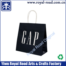 Custom printing design logo black kraft paper bag with rope handle