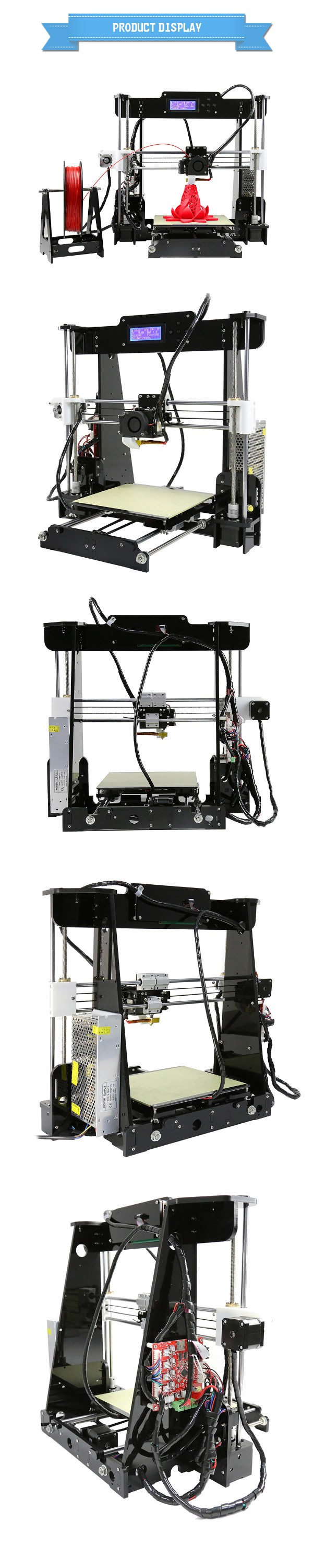 Laurel-A8 Prusa I3 Reprap Acrylic Easy to Install DIY 3D printer Prusa I3 3d printer made in china