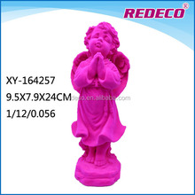 Littele resin decoration angel statue with flocked