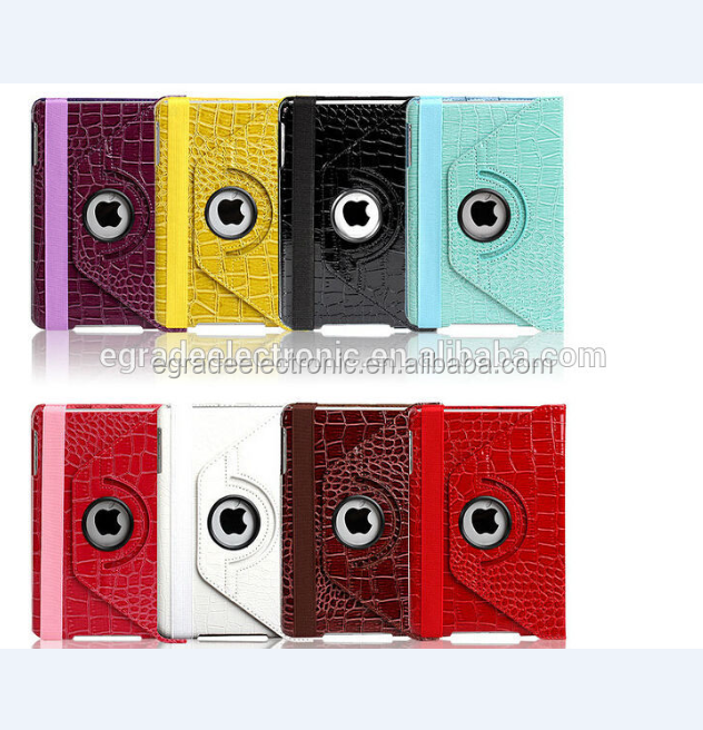 360 Degree Rotary Crocodile Leather Case with Stand Leather Flip Case for iPad Mini /2