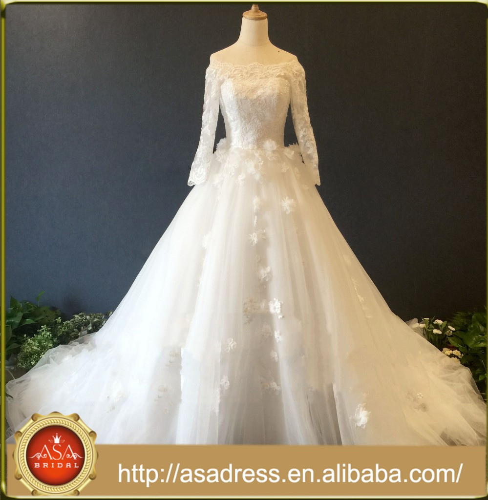 ASA033 Real Photos Charming V-back Ball Gown Wedding Dress with Bow Sash 3/4 Sleeves Off Shoulder Flower Appliques Bridal Gown