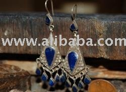 Old Afghan Silver Lapis Earring