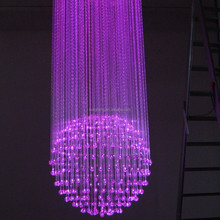 hot sale bright color changing wedding decoration 150W fiber optic ball shape crystal chandelier