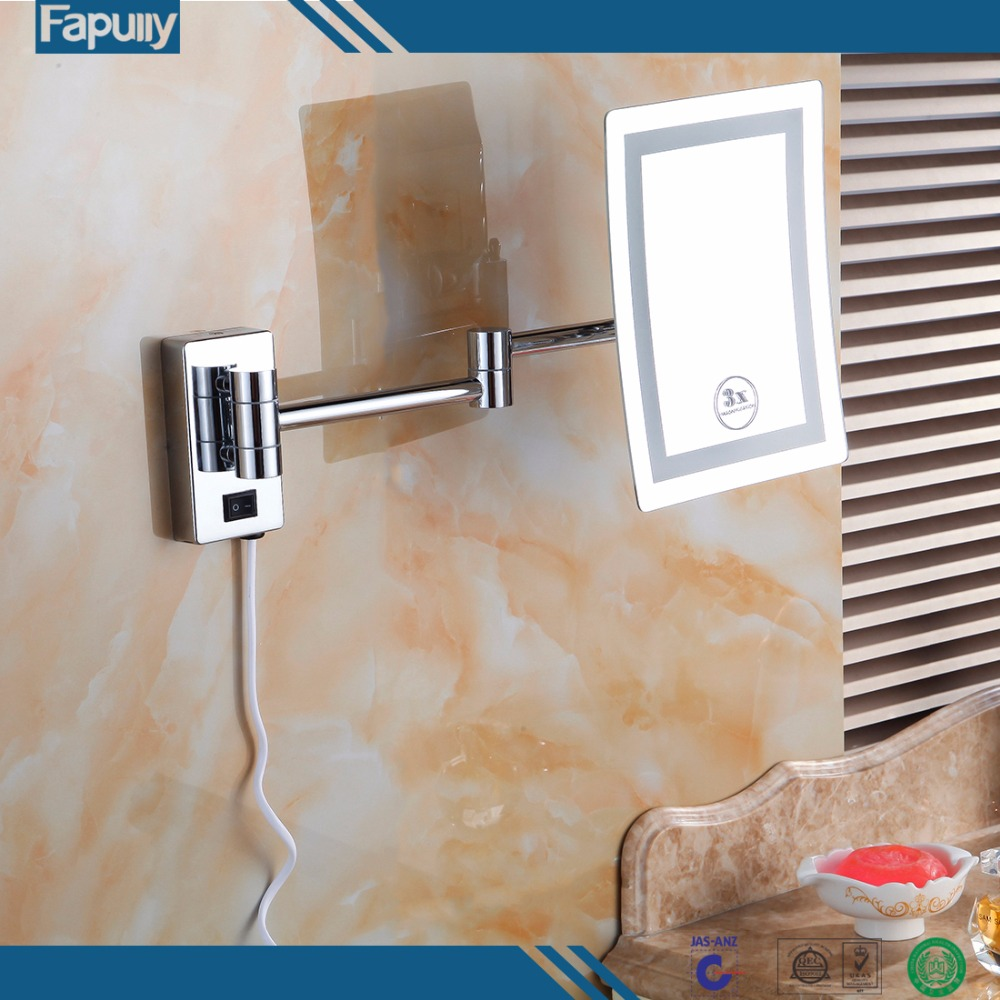 Fapully Modern Luxury Folding Bathroom Led Light Wall Mirror