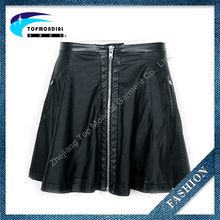 2016 New Causal Design Women Black Mini Sexy Leather Skirt