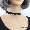 Velvet Wrapped Choker Necklace layered with beads