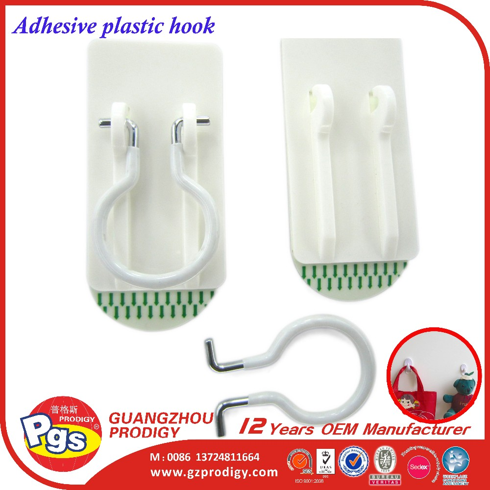 Permanent adhesive single hook