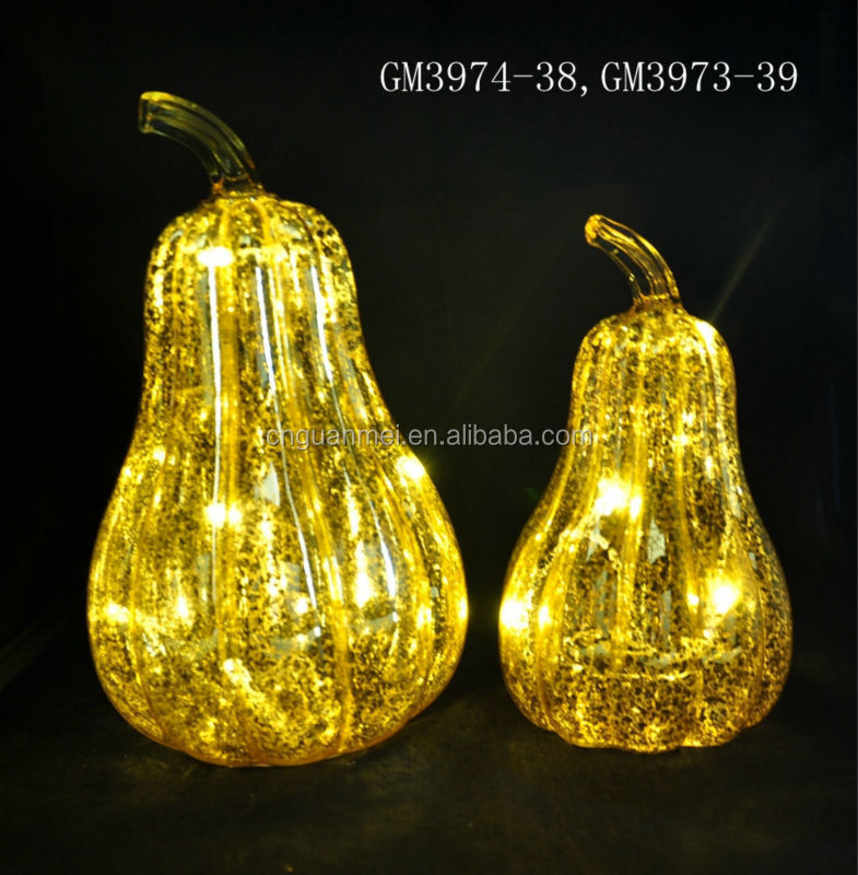 Festival Decoration Glass LED Pumpkin Manufacturer Halloween Pumpkin
