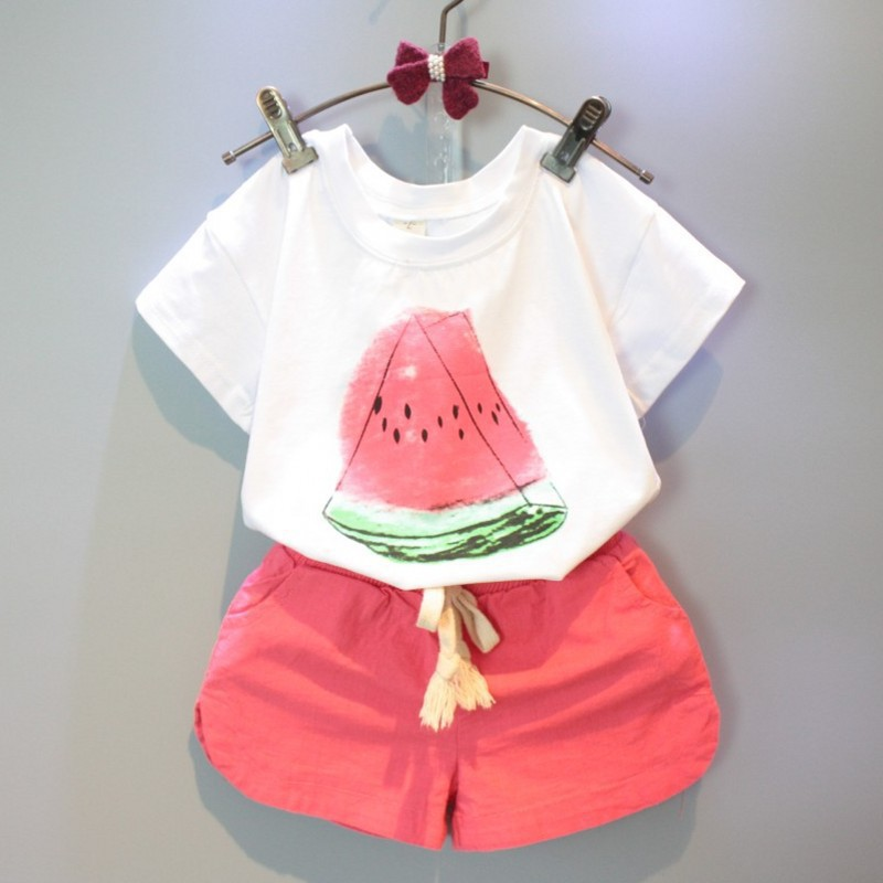 YD4038childrens boutique clothing watermelon printed cotton kid clothing sets