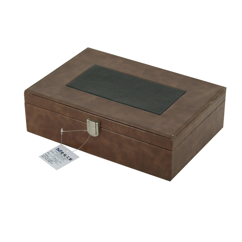 Eco-friendly PU leather wood box for wine glasses manufacturer