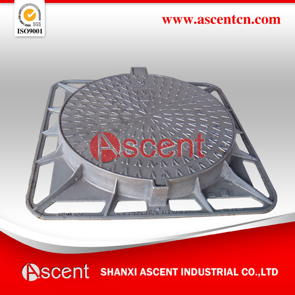 EN124 D400 Cast Iron Square/Round Manhole Cover with Elastic Bar