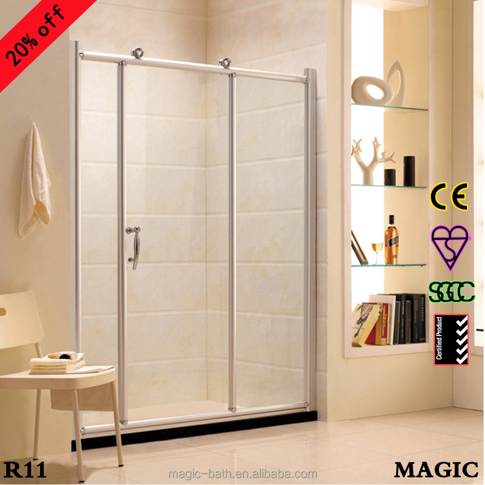 Big wheel tempered glass low price shower screen