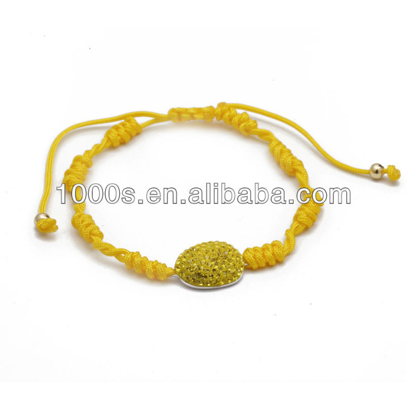 Yellow String Bracelet, 2 beads on the end