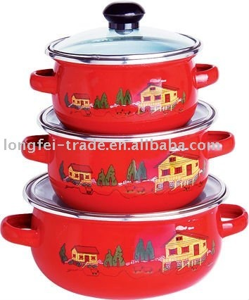 3pcs enamel coated cast iron cookware with glass lid