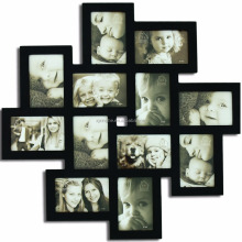 Black Wood Wall Hanging Collage Picture Frame with12 Openings for baby's first year