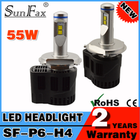 SUNFAX Factory direct 55W 5200 lm p6 led bulb car led headlight h4 h7 h11 h13 h15 h16 hb3 hb4 9004 9012 led headlight