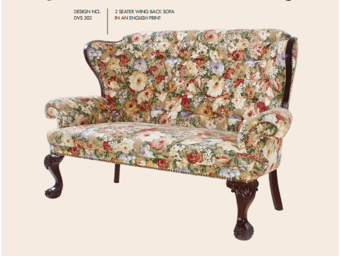 2 Seater Wing Back Sofa in an English Print