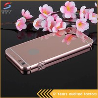 Hot sale for apple iphone6 mobile phone metal bumper case with mirror back covers