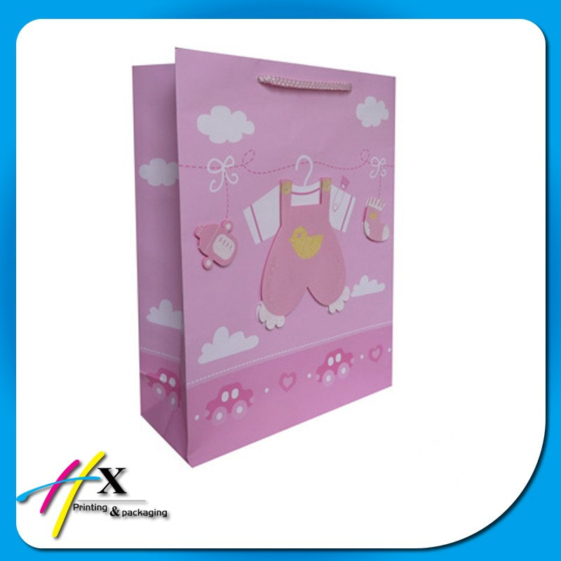 pink lovely gift paper bag for packaging baby toy