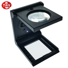 6X led magnifying glass for printing folding linen tester magnifier with scale