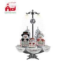 snow falling led christmas lights, Snowing Christmas Snowman Family with umbrella base