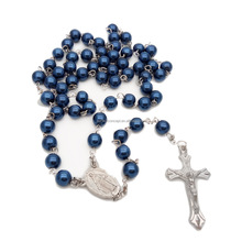 Religious colorful pearl rosary necklace
