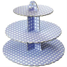 3 tier cardboard display stand Blue Polka Dot 3 Tier Cup Cake Stand