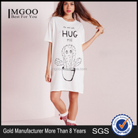 Comfortable 100% Cotton Hug Me Slogan Nightwear Shirt Unisex Loose Sleeping White With Carton Dress